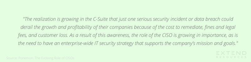 """""""The realization is growing in the C-Suite that just one serious security incident or data breach could derail the growth and profitability of their companies because of the cost to remediate, fines and legal fees, and customer loss. As a result of this awareness, the role of the CISO is growing in importance, as is the need to have an enterprise-wide IT security strategy that supports the company's mission and goals."""""""