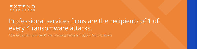 Professional services firms are the recipients of 1 of every 4 ransomware attacks.