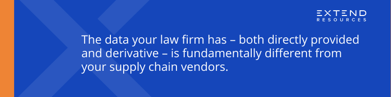 The data your law firm has - both directly provided and derivative - is fundamentally different from your supply chain vendors.